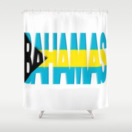 Bahama Font with Bahamian Flag Shower Curtain