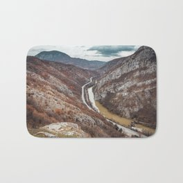 Beautiful picture of the canyon in Serbia, with river and the highway in the middle Bath Mat