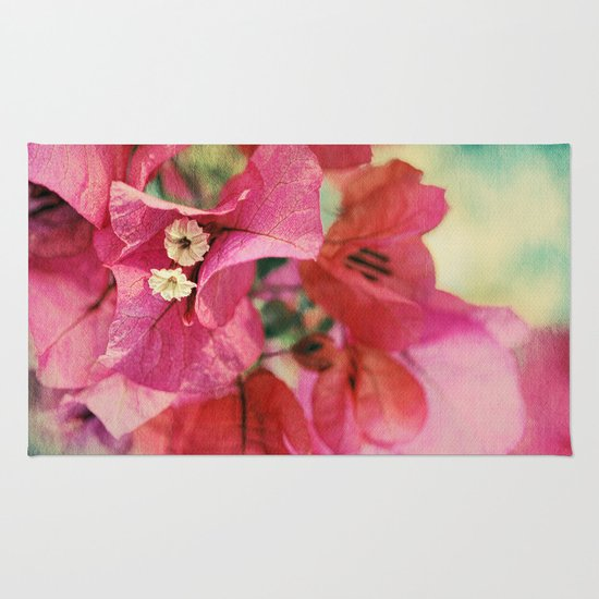 Vintage Bougainvillea Flowers in pink & green with textures Rug