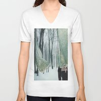 eugenia loli V-neck T-shirts featuring Sheets by Sarah Eisenlohr