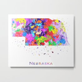 Nebraska Map Metal Print