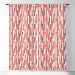 Modern Geometric Tabs in Coral, Pink, Gray and Peach Blackout Curtain
