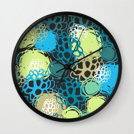 Seamless background black blue brown green flowers, circles, spots Wall Clock