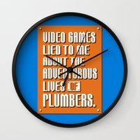 video games Wall Clocks featuring Video Games Lied To Me by Made With Awesome