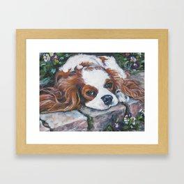 Beautiful Blenheim Cavalier King Charles Spaniel Dog Art Painting by LA.Shepard Framed Art Print