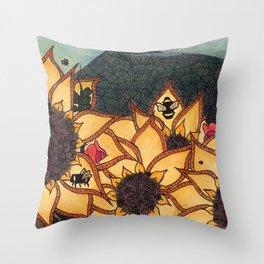 Sunflower Bumbles 3 Throw Pillow