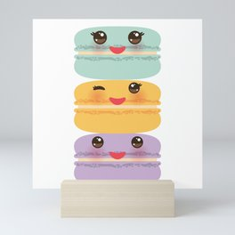 Kawaii macaroon funny orange blue lilac cookie with pink cheeks with pink cheeks and big eyes Mini Art Print