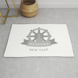 Wheel of Dharma and Buddhist new year Mahayana greetings- Buddha sitting in lotus position Rug