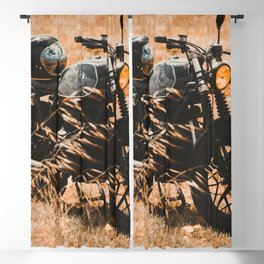 Old motorcycle photo, café racer, man cave gift, mancave, scrambler, cafe racer Blackout Curtain