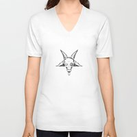 satan V-neck T-shirts featuring SATAN by FoxBoy