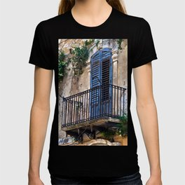 Blue Sicilian Door on the Balcony T-shirt