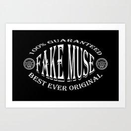 Fake Muse badge (white on black) Art Print