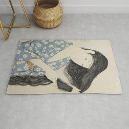Woman in Blue Combing Her Hair - Hashiguchi Goyo Rug