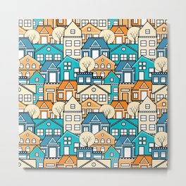 Town houses and streets, roofs of houses Metal Print