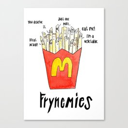Frynemies, Frenemy, French Fries, Food Art, Funny Art, Illustration, Watercolor, Handlettering. Canvas Print