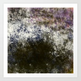 Blackened Stone with Purple, Blue, Pink Art Print