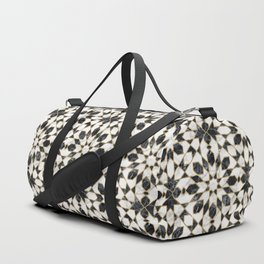 Black and white marble Moroccan mosaic Duffle Bag