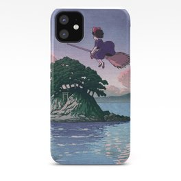 Kiki's Delivery Service and vintage japanese woodblock mashup iPhone Case