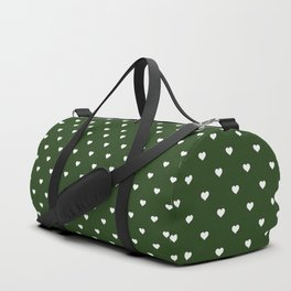 Small White Polka Dot Hearts on Dark Forest Green Duffle Bag