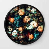 vintage floral Wall Clocks featuring Vintage Floral by Burcu Korkmazyurek