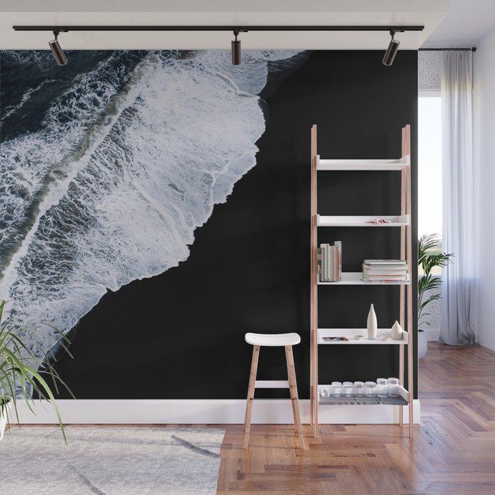 Waves crashing on a black sand beach – minimalist Landscape Photography  Wall Mural by regnumsaturni
