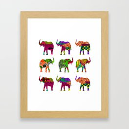 Bright&Bold RetroAfro Elephants Framed Art Print