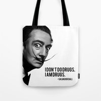 salvador dali Tote Bags featuring Salvador Dali by Pancho the Macho