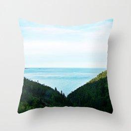 Seaside Mountain Crevasse Throw Pillow