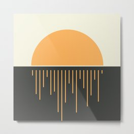 Geometric Lines in Gold and Black 17 (Sunrise over the Ocean) Metal Print