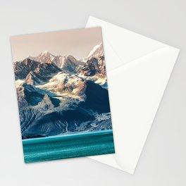 Scenic Alaskan nature landscape wilderness at sunset. Melting glacier caps. Stationery Cards