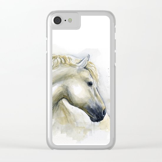 White Horse Watercolor Painting Animal Horses Clear iPhone Case