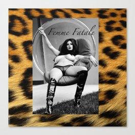 Vintage Pin Up - Stone Hard Femme Leopard Canvas Print