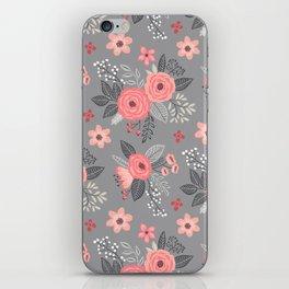 Vintage Antique Floral Flowers on Grey iPhone Skin