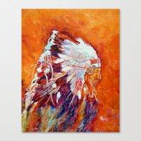 native american Canvas Prints featuring Native American by LiliyaChernaya