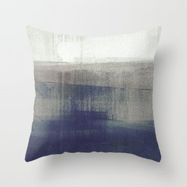 Navy Blue and Grey Minimalist Abstract Landscape Throw Pillow