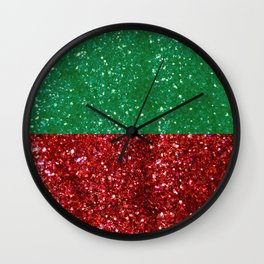 Red and Green Sparkles for Christmas Wall Clock