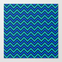 Geometric modern black blue green chevron pattern Canvas Print