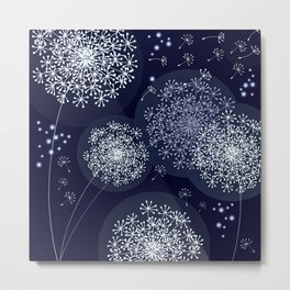 MIDNIGHT MAGIC DANDELION - BLUE by MS Metal Print