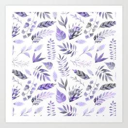 Modern hand painted purple violet watercolor leaves Art Print