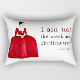 Outlander Claire Fraser Red Dress Not Obedient Quote Watercolor Rectangular Pillow