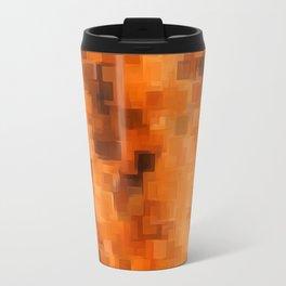 brown orange and dark brown square pattern abstract background Travel Mug