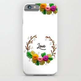 Hand Embroidery Ribbon Flowers Wreath - Love iPhone Case