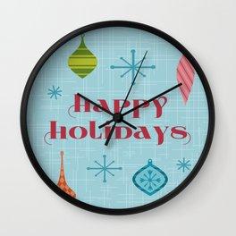 Mid Century Happy Holidays Wall Clock
