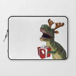 Christmas Trex holding present Laptop Sleeve