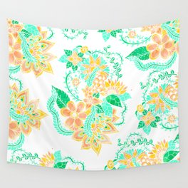 Modern yellow turquoise watercolor tropical floral illustration spring summer pattern Wall Tapestry