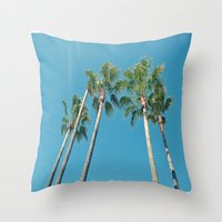 palm tree Throw Pillows featuring Palm tree by Laura James Cook