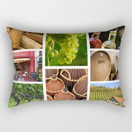 Wine and Vineyard Collage - Cafe or Kitchen Decor Rectangular Pillow