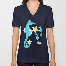 Blue Seahorses Unisex V-Neck