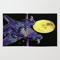 blankets Area & Throw Rugs featuring Midnight Moon Ravens by SharlesArt