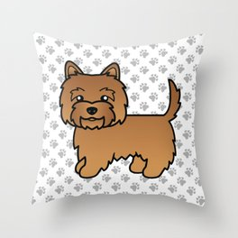 Cute Red Cairn Terrier Dog Cartoon Illustration Throw Pillow